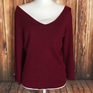 Ann Taylor LG Red Silk Cotton Cashmere Gem Sweater